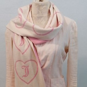 Juicy Couture Wool Blend Pink White Heart Scarf